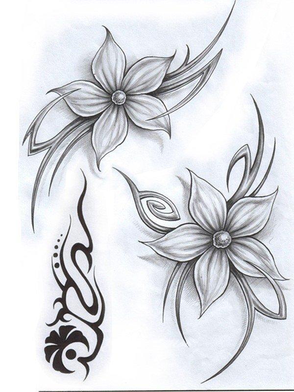 Тату цветы эскиз