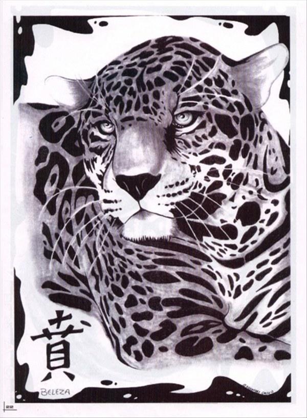 Leopard print drawing tattoo