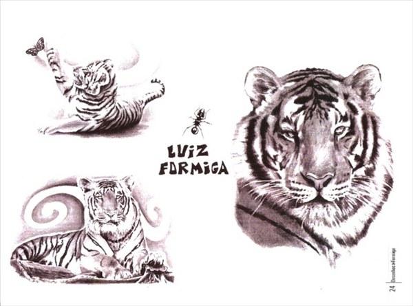 Тату тигра и эскизы для девушек