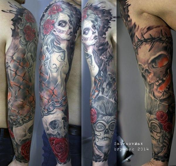 Татуировка рукав с элементами кирпичной стены