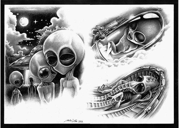 Инопланетяне эскиз тату