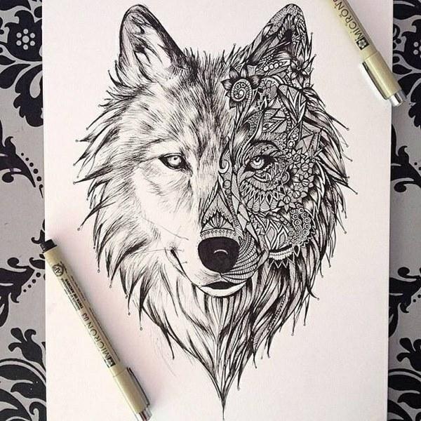 картинки тату волки