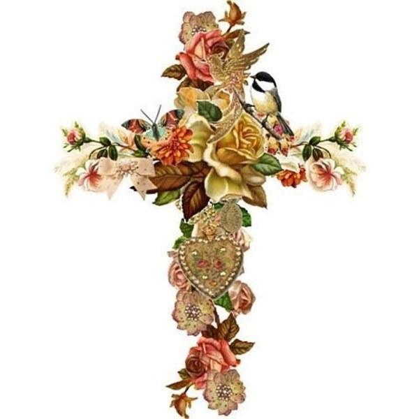 Тату крест с цветами
