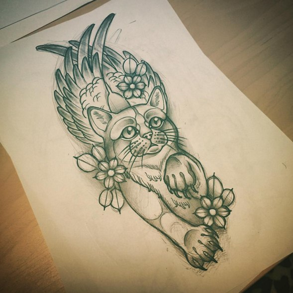 Татуировки эскизы кошки
