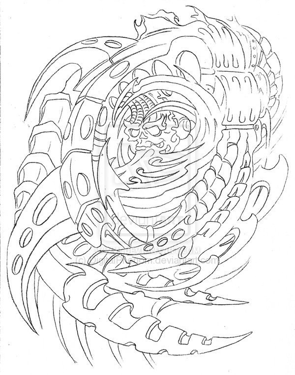 Biomechanical Tattoo Line Drawing : Эскиз татуировки Биомеханика и Органика Тату салон