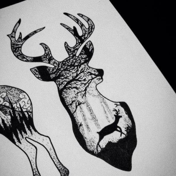 Image De Art Deer And Drawing: Галерея идей для татуировок