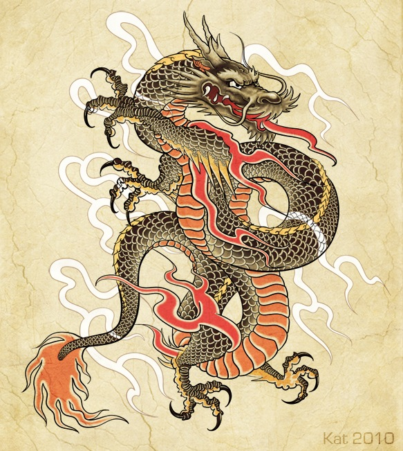 Эскиз японского тату дракон