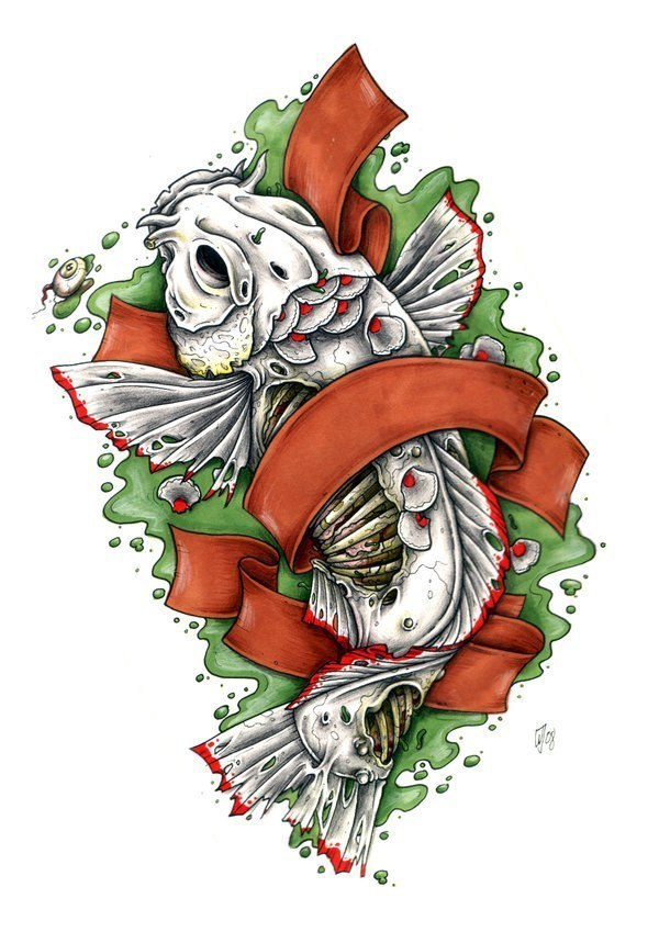 тату рыбак эскиз