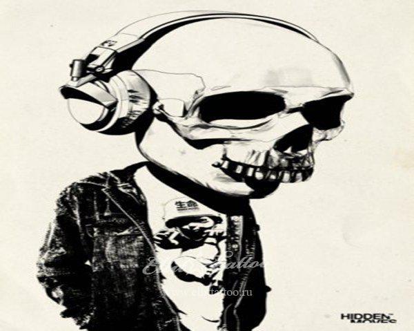 Музыка череп тату