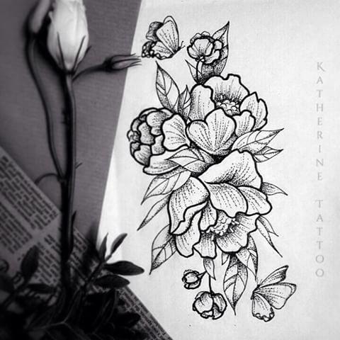 Цветы чб эскиз