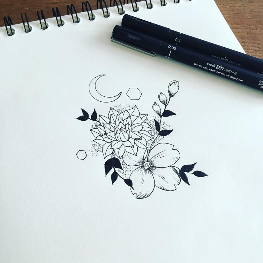 Фото тату цветы эскизы черно белые