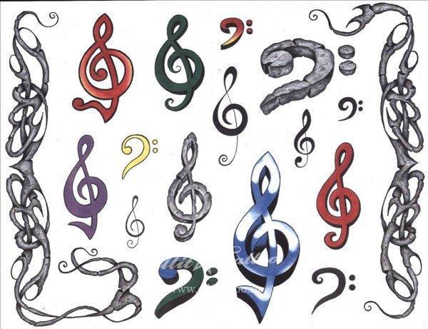 Татуировки музыкальный ключ рисунки