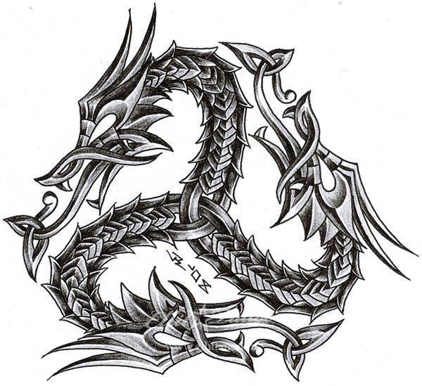 Тату узор драконов