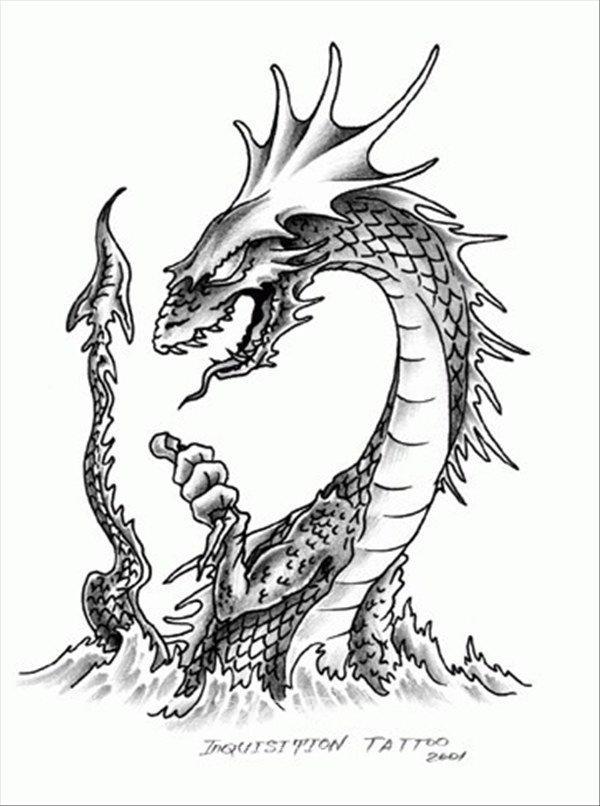 Татуировка тату эскиз дракон