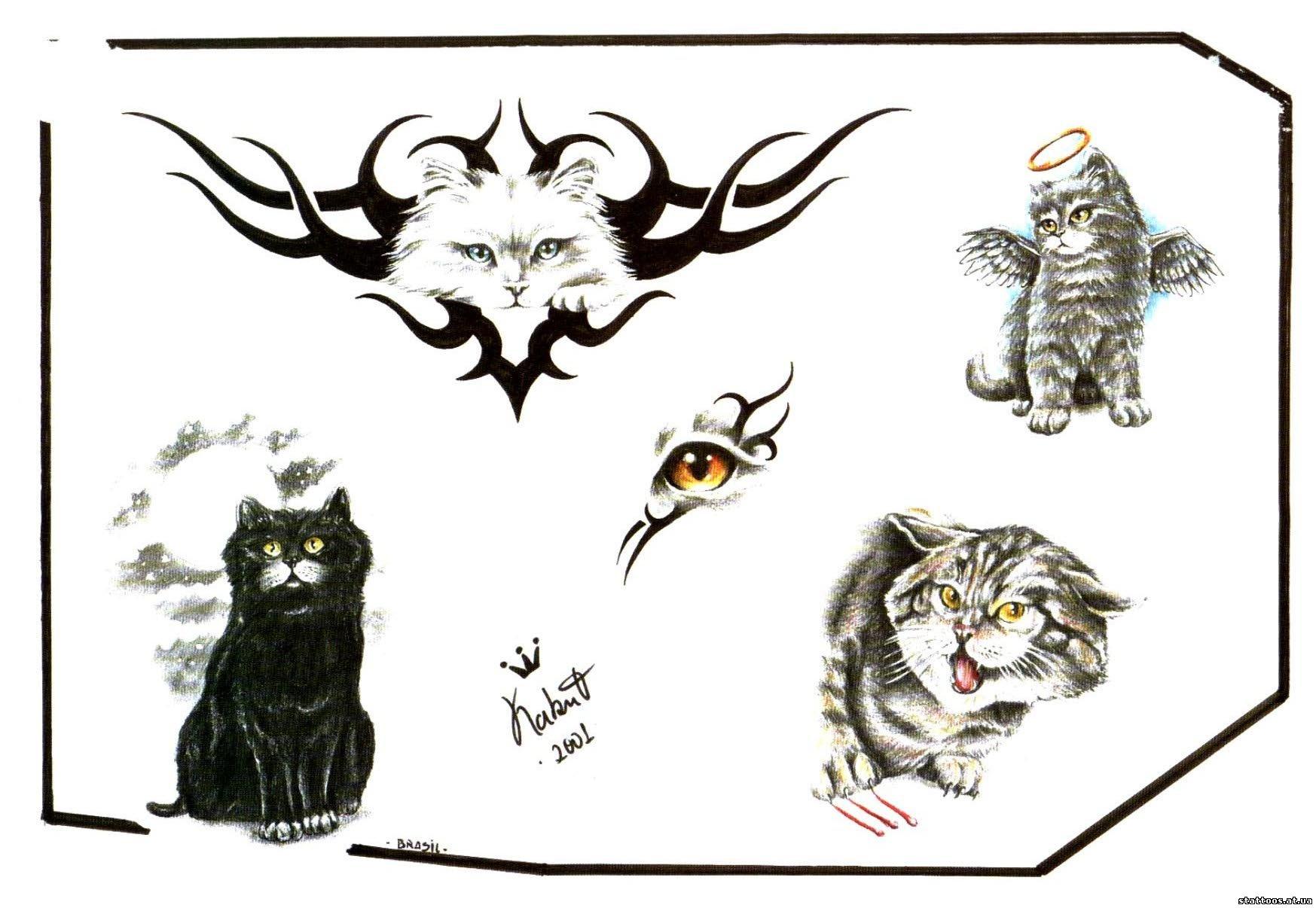 Тату кошка для девушек: 100 самых красивых вариантов на фото 98