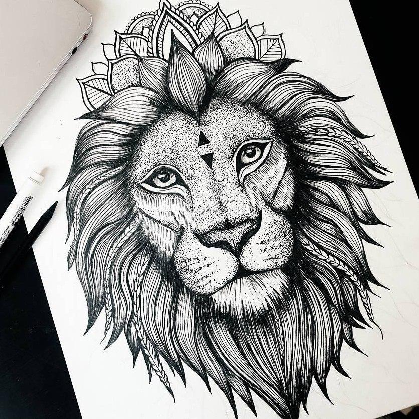 Картинки эскизы лев