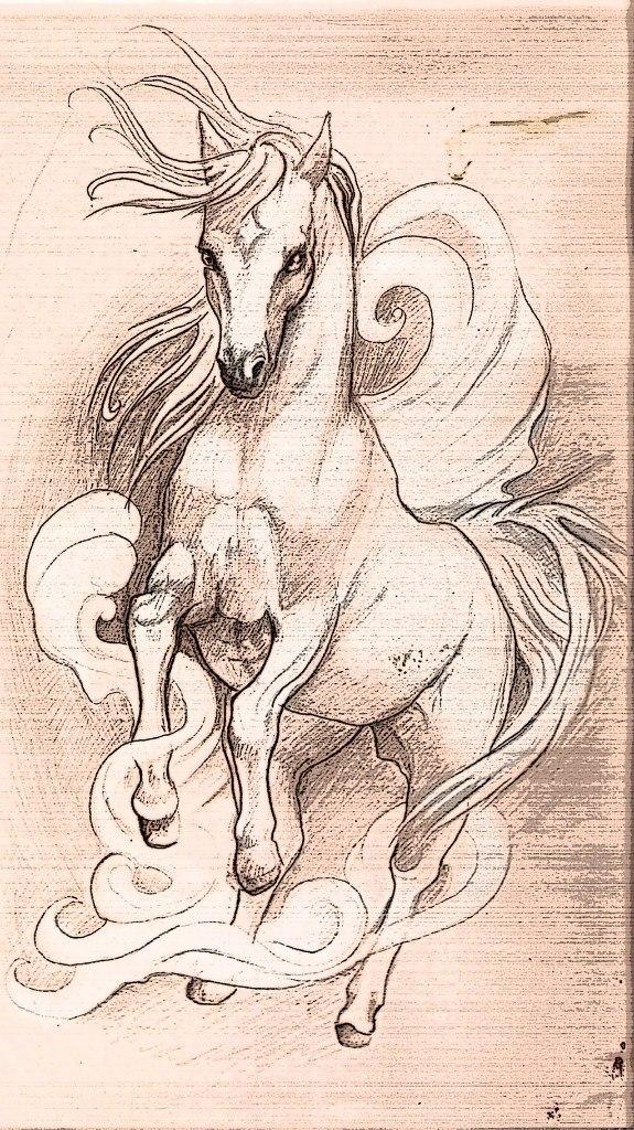 эскизы картинки с лошадьми каком