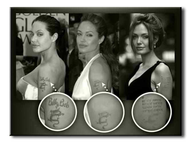 Джоли, Анджелина - сведенные татуировки