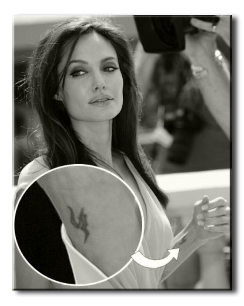 """Джоли, Анджелина - татуировка в виде буквы """"h"""""""